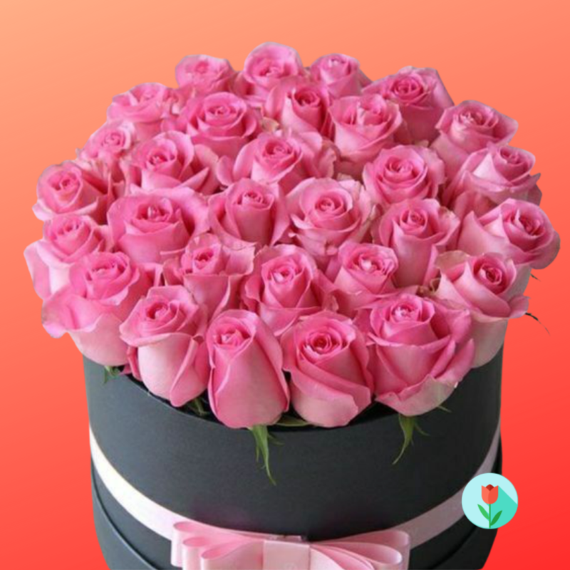 caja rosas rosas