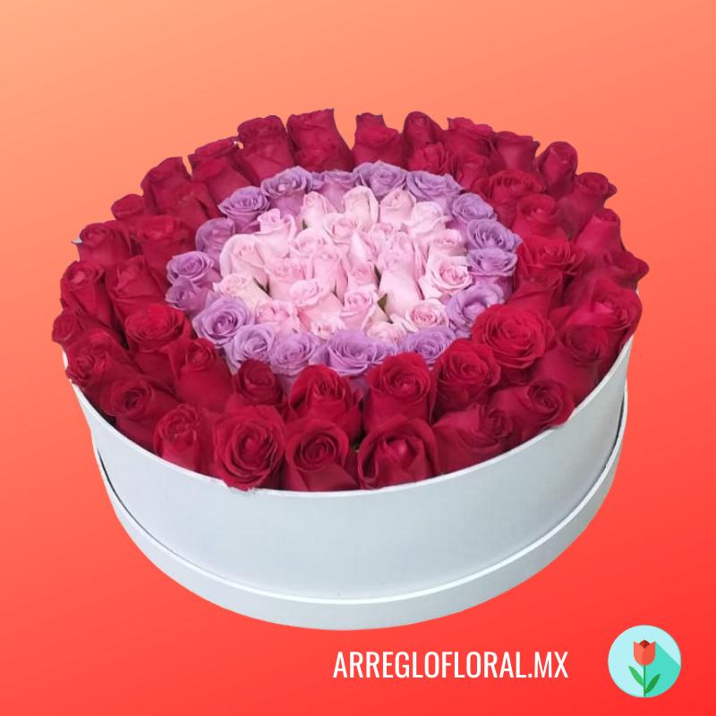 Caja blanca con rosas rojas, rosas y blancas