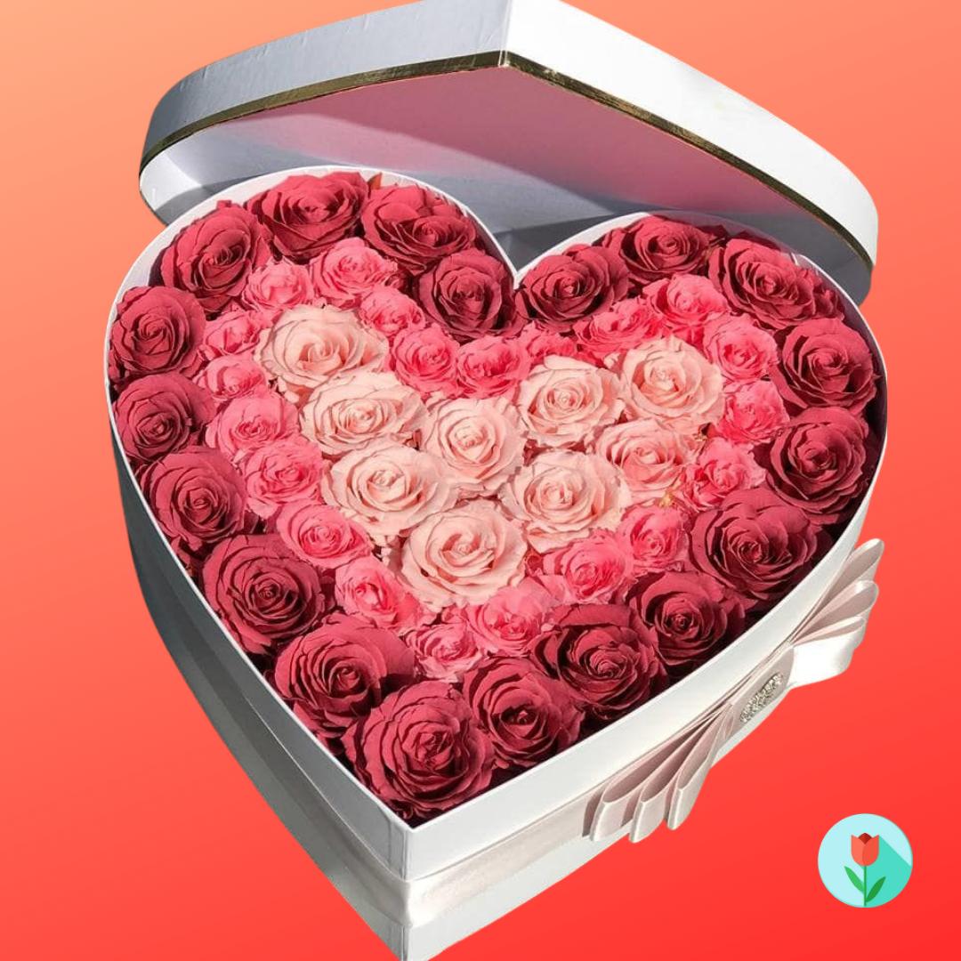 corazon caja rosas