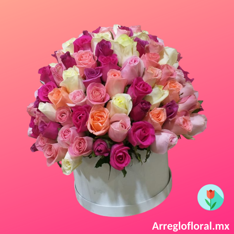 caja con 150 rosas