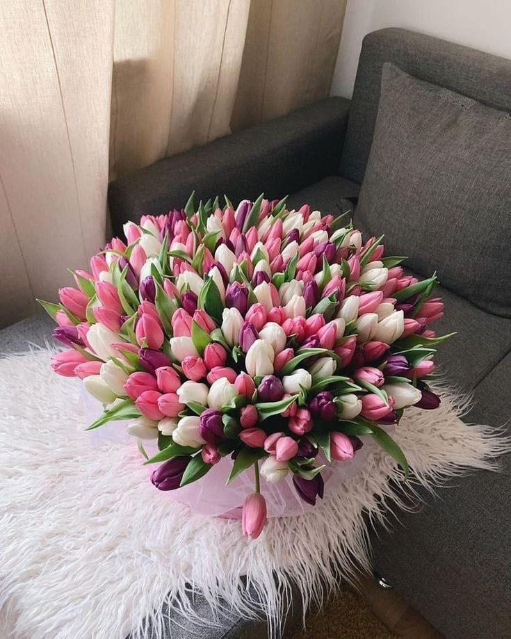 Caja con tulipanes de colores