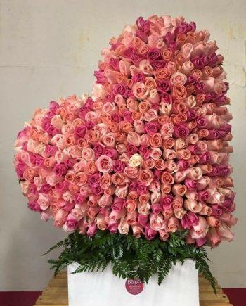 Corazón con 500 rosas a domicilio