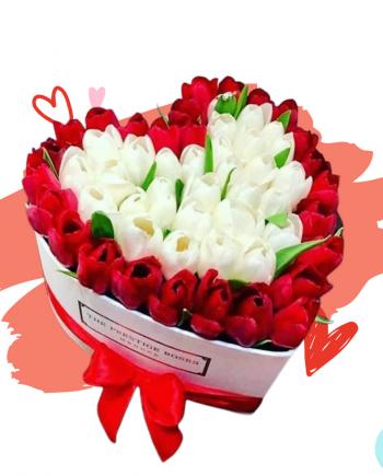 Caja con 100 tulipanes rojos y blancos a domicilio