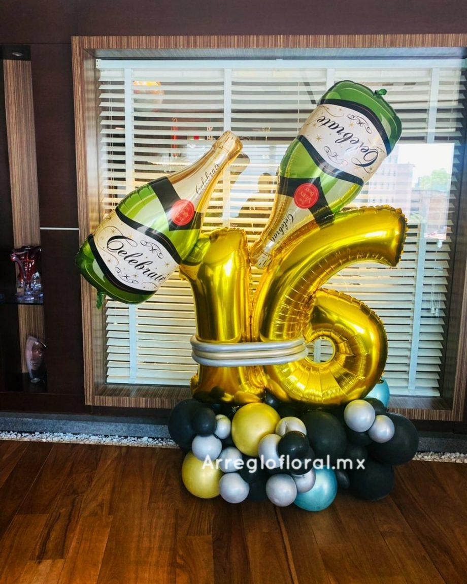 Bouquet de globos con botella