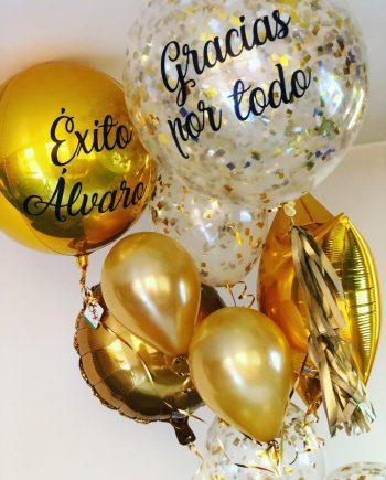 Globos dorados feliz cumpleaños