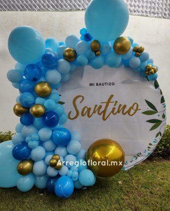 Backdrop con globos con fondo personalizado Bautizo